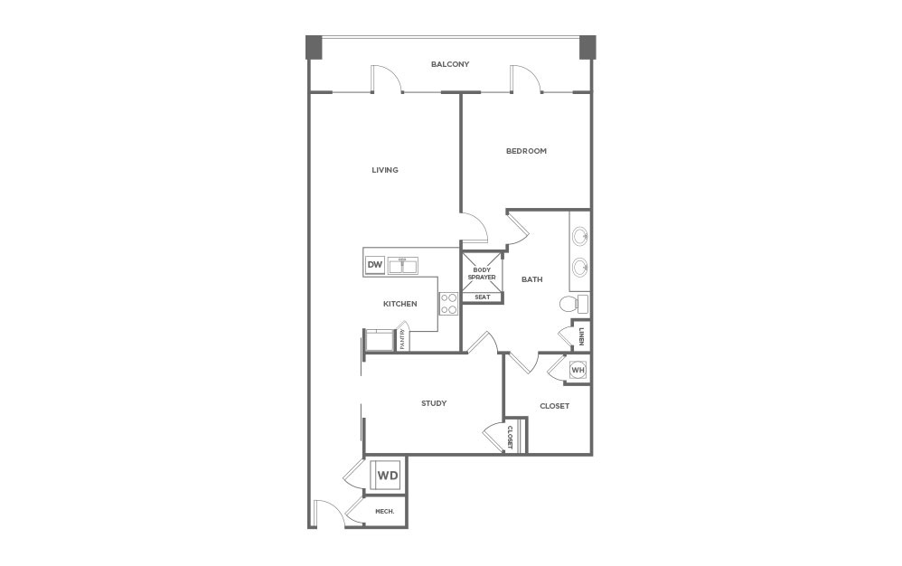 EA1D.4 - 1 bedroom floorplan layout with 1 bath and 1253 square feet. (2D)