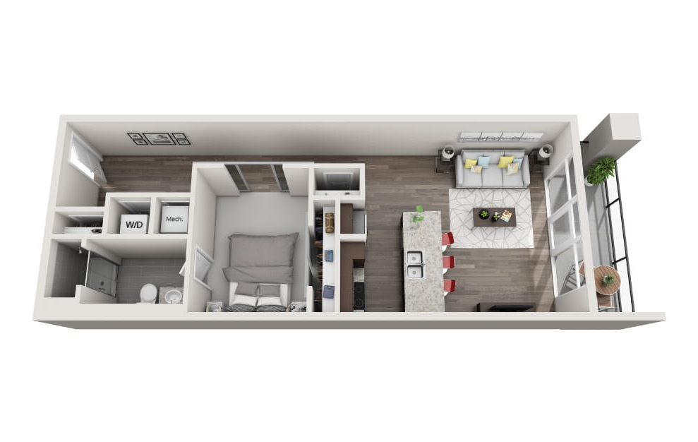 EA1.10 - 1 bedroom floorplan layout with 1 bath and 891 square feet. (3D)