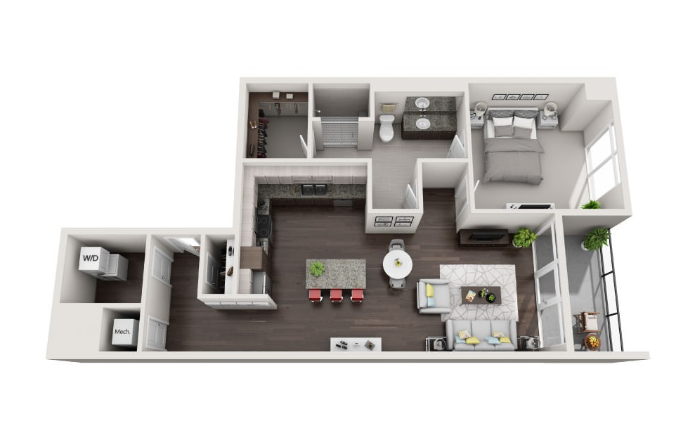 EA1.20 - 1 bedroom floorplan layout with 1 bath and 1333 square feet. (3D)