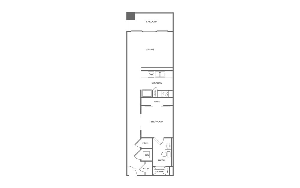 EA1.10 - 1 bedroom floorplan layout with 1 bath and 891 square feet. (2D)