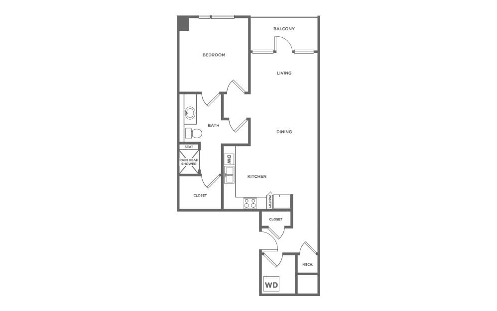 EA1.20 - 1 bedroom floorplan layout with 1 bath and 1333 square feet. (2D)