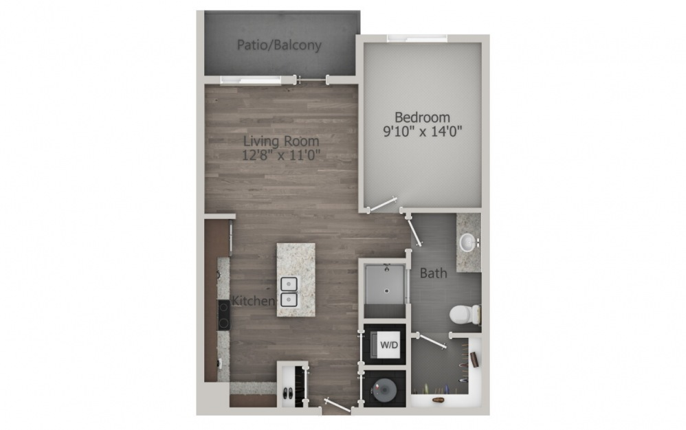 A1 - 1 bedroom floorplan layout with 1 bath and 696 square feet. (2D)