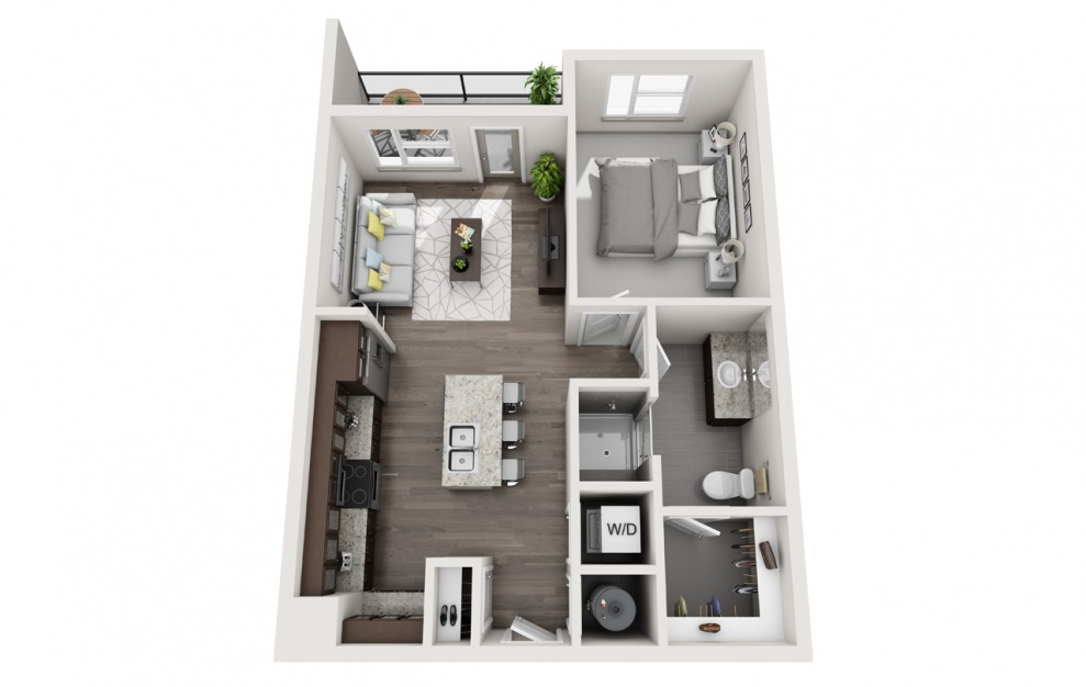 A1 - 1 bedroom floorplan layout with 1 bath and 696 square feet. (3D)