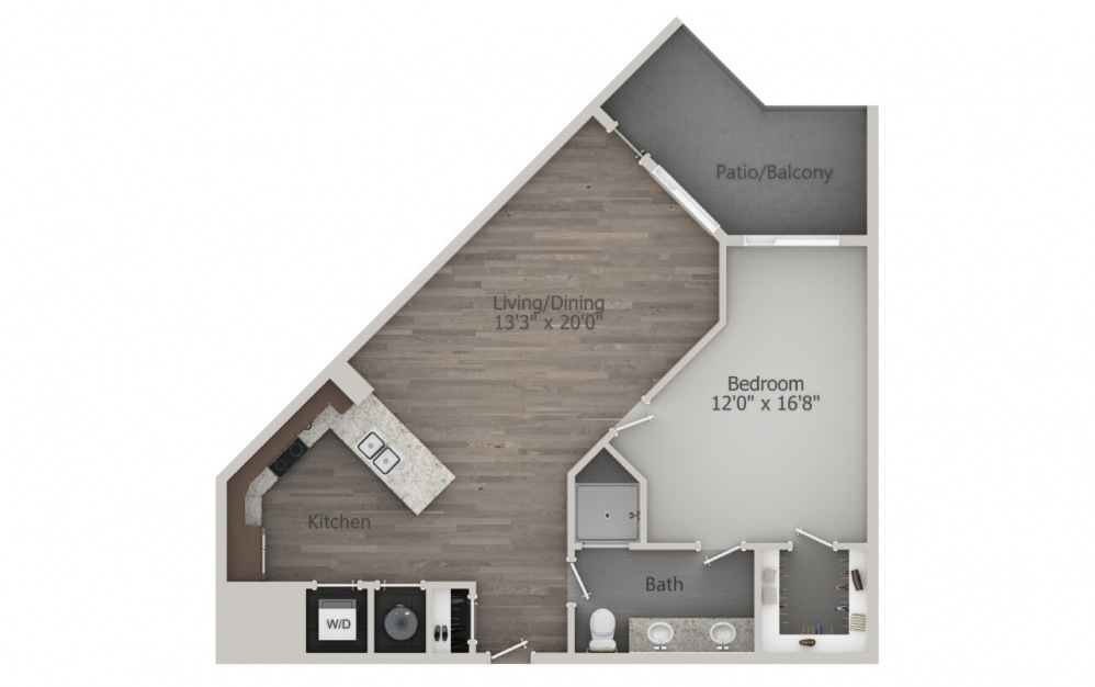 A3 - 1 bedroom floorplan layout with 1 bath and 850 square feet. (2D)