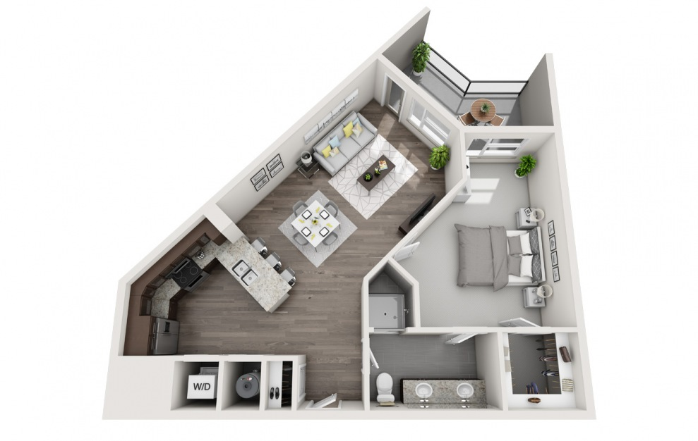 A3 - 1 bedroom floorplan layout with 1 bath and 850 square feet. (3D)