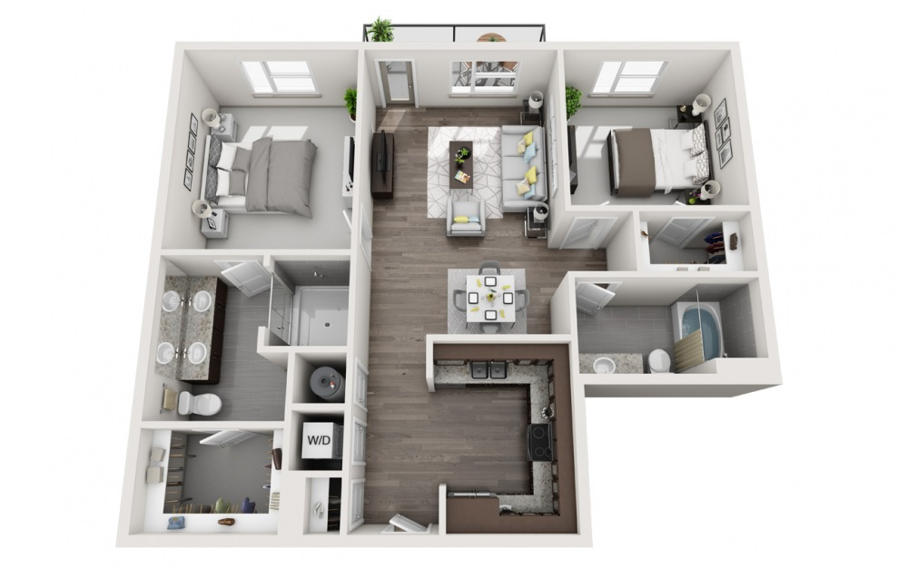 B3 - 2 bedroom floorplan layout with 2 baths and 1076 square feet. (3D)