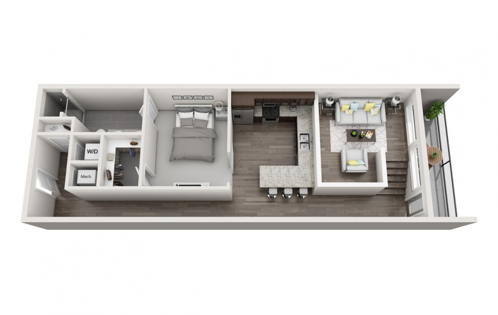 EA1.12 - 1 bedroom floorplan layout with 1 bath and 931 square feet. (3D)