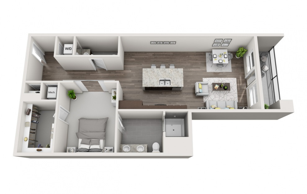 EA1.13 - 1 bedroom floorplan layout with 1.5 bath and 1010 square feet. (3D)