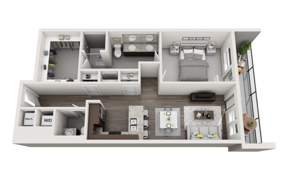 EA1.14 - 1 bedroom floorplan layout with 1 bath and 1017 square feet. (3D)