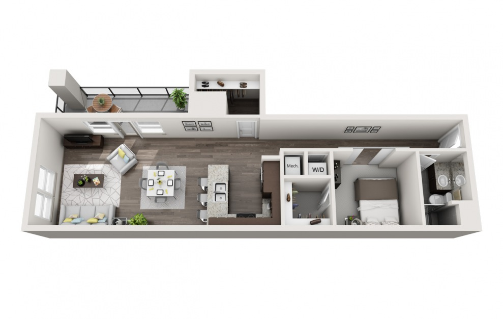 EA1.19 - 1 bedroom floorplan layout with 1 bath and 1165 square feet. (3D)