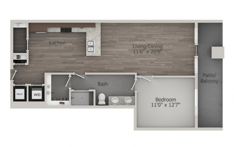 EA1.6 - 1 bedroom floorplan layout with 1 bath and 838 square feet. (2D)