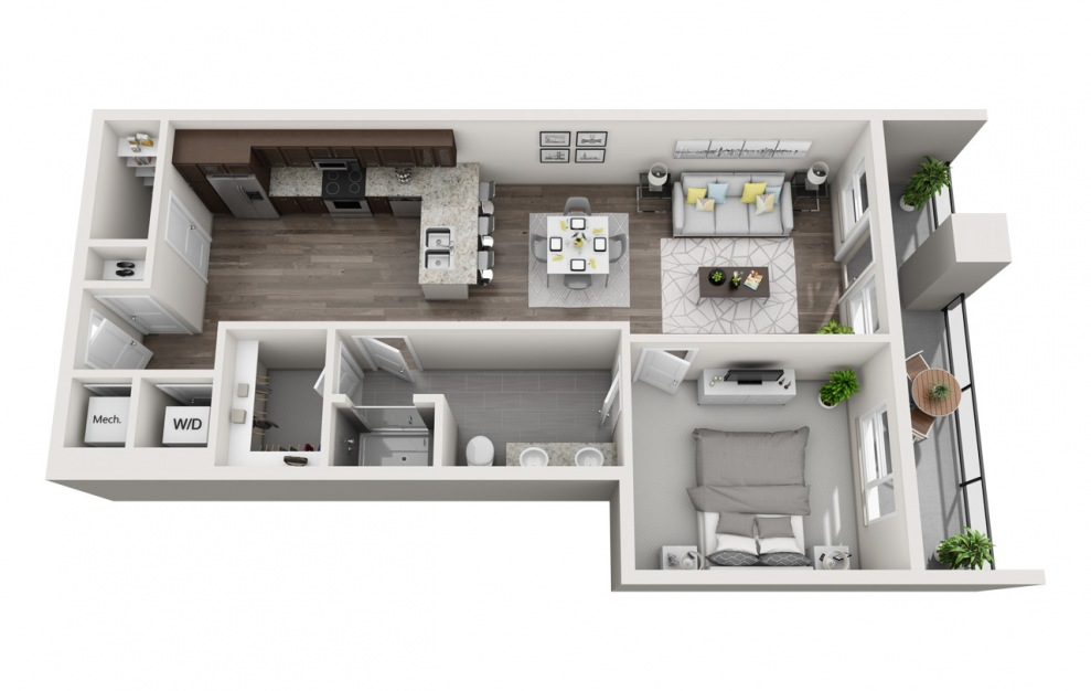 EA1.6 - 1 bedroom floorplan layout with 1 bath and 838 square feet. (3D)