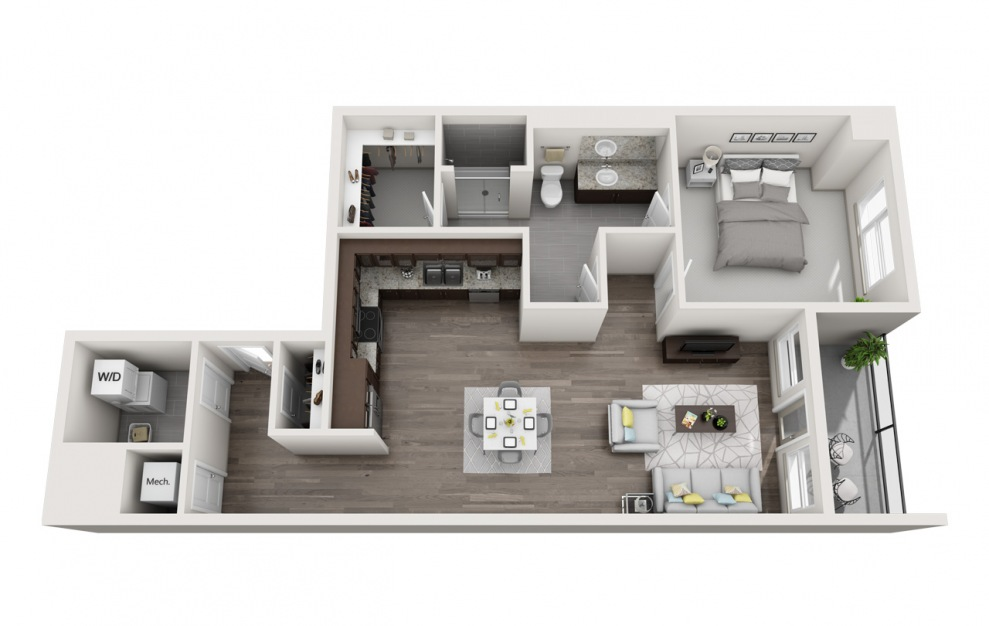 EA1.7 - 1 bedroom floorplan layout with 1 bath and 855 square feet. (3D)