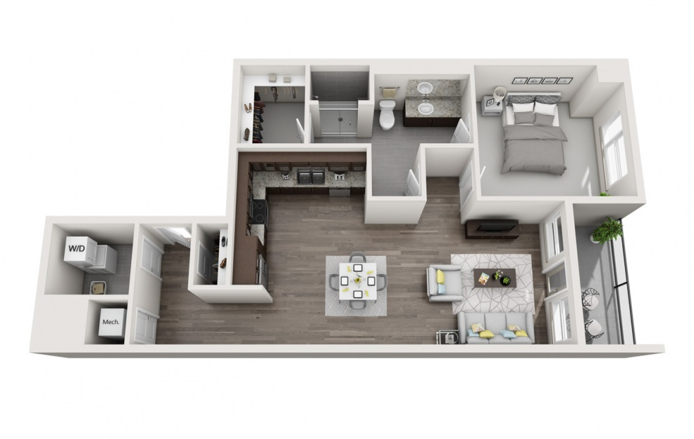 EA1.17 - 1 bedroom floorplan layout with 1 bath and 1111 square feet. (3D)