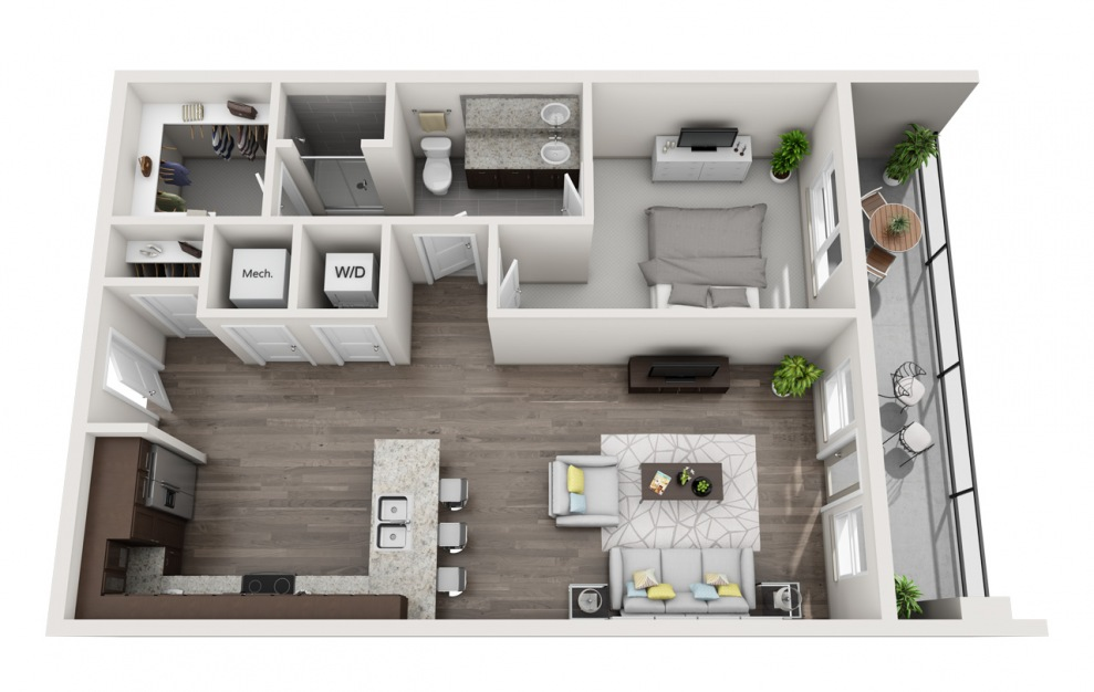 EA1.9 - 1 bedroom floorplan layout with 1 bath and 872 square feet. (3D)
