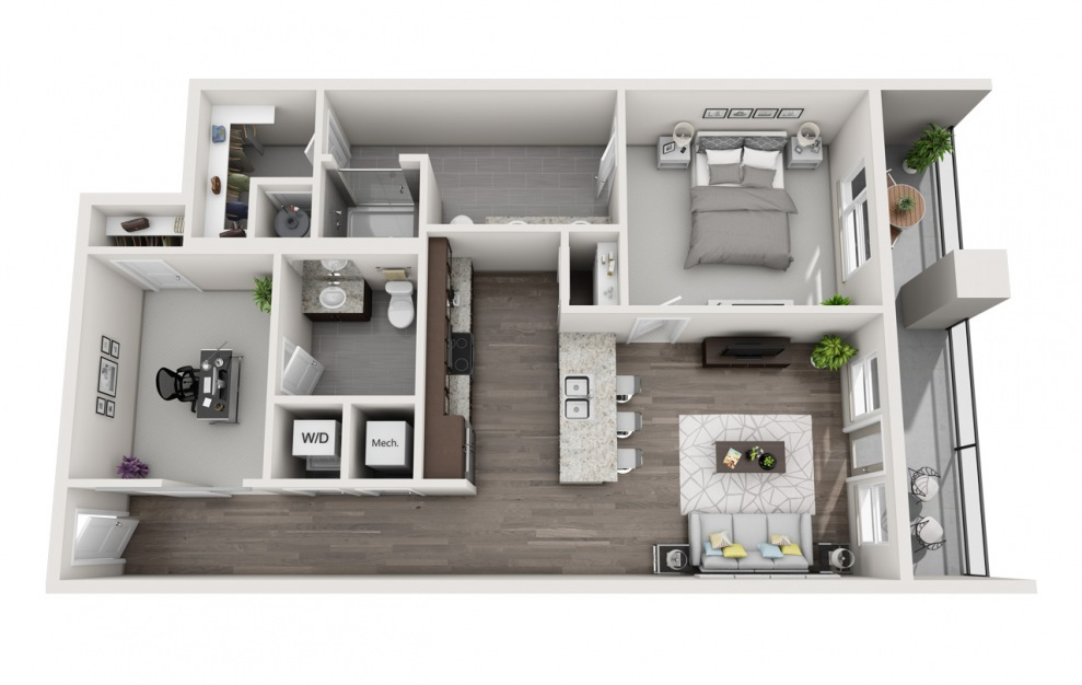 EA1D.1 - 1 bedroom floorplan layout with 1.5 bath and 1022 square feet. (3D)