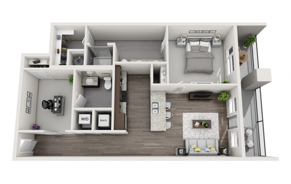 EA1D.2 - 1 bedroom floorplan layout with 1.5 bath and 1059 square feet. (3D)