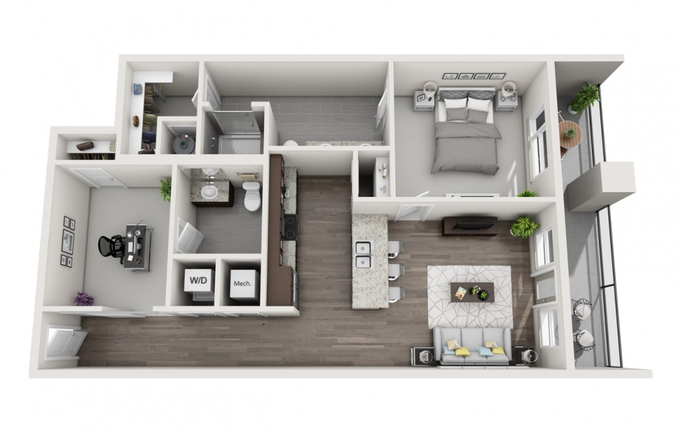EA1D.3 - 1 bedroom floorplan layout with 1.5 bath and 1133 square feet. (3D)