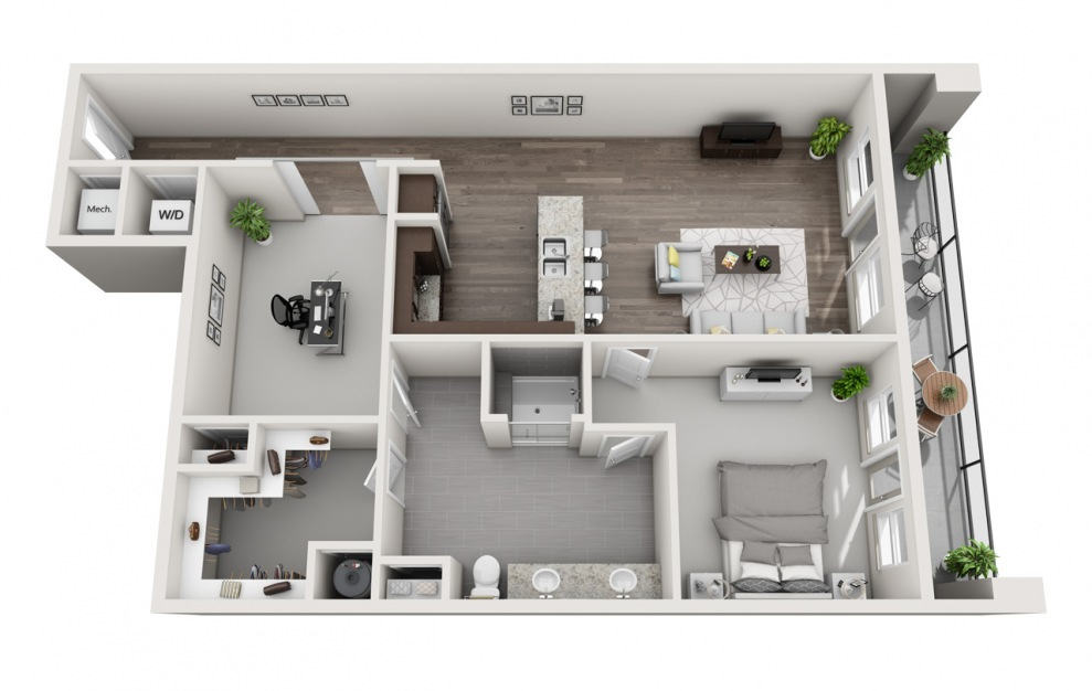 EA1D.4 - 1 bedroom floorplan layout with 1 bath and 1253 square feet. (3D)