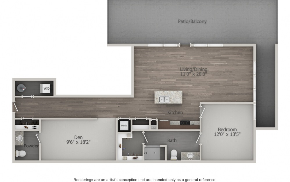 EA1D.5 - 1 bedroom floorplan layout with 1.5 bath and 1278 square feet. (2D)