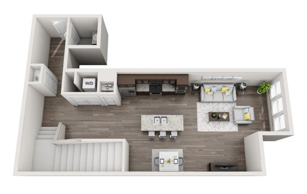 EA1L - 1 bedroom floorplan layout with 1.5 bath and 1427 square feet. (Floor 1 / 3D)