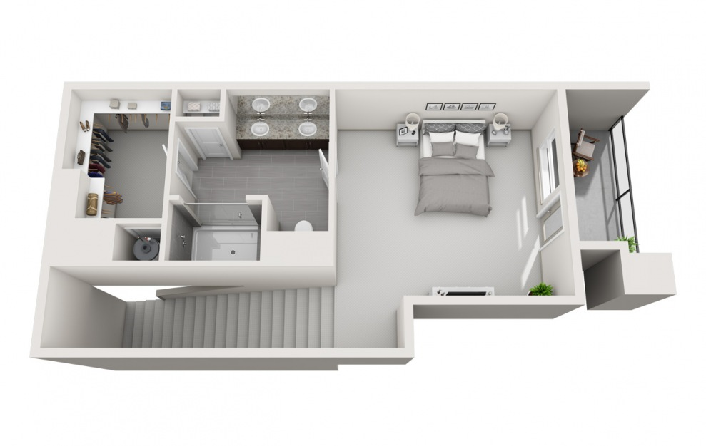 EA1L - 1 bedroom floorplan layout with 1.5 bath and 1427 square feet. (Floor 2 / 3D)