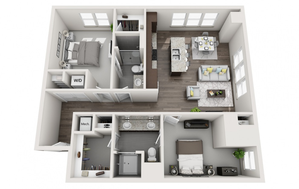 EB2 - 2 bedroom floorplan layout with 2 baths and 1263 square feet. (3D)