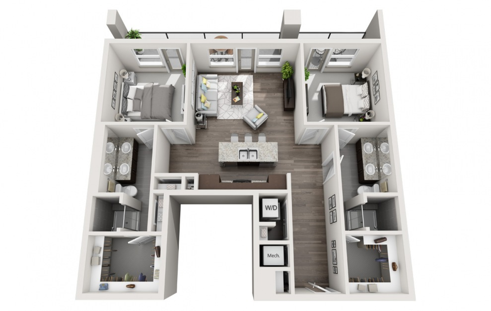 EB2.1 - 2 bedroom floorplan layout with 2 baths and 1478 square feet. (3D)