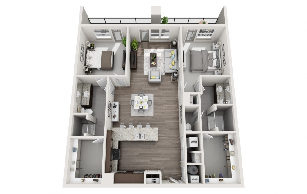 EB2.2 - 2 bedroom floorplan layout with 2 baths and 1515 square feet. (3D)