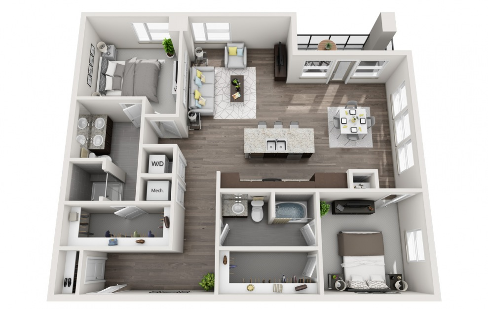EB2.3 - 2 bedroom floorplan layout with 2 baths and 1560 square feet. (3D)