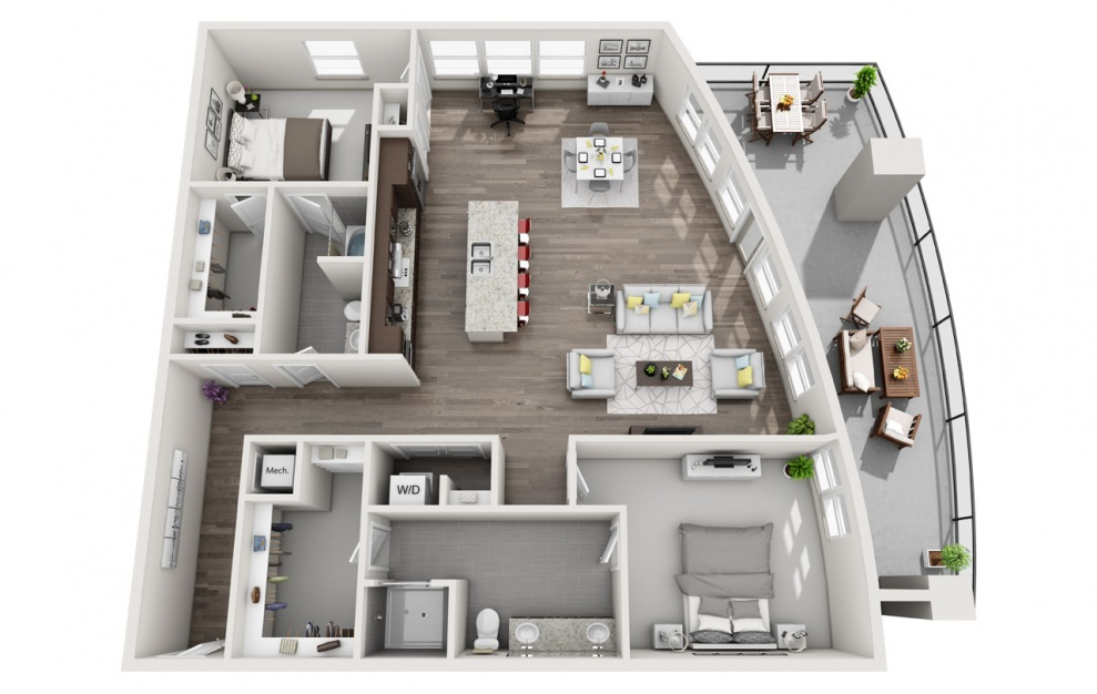 EB2.4 - 2 bedroom floorplan layout with 2 baths and 1779 square feet. (3D)