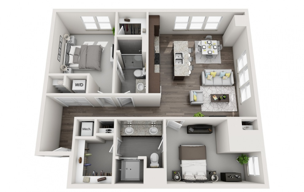 EA1D.5 - 1 bedroom floorplan layout with 1.5 bath and 1278 square feet. (3D)