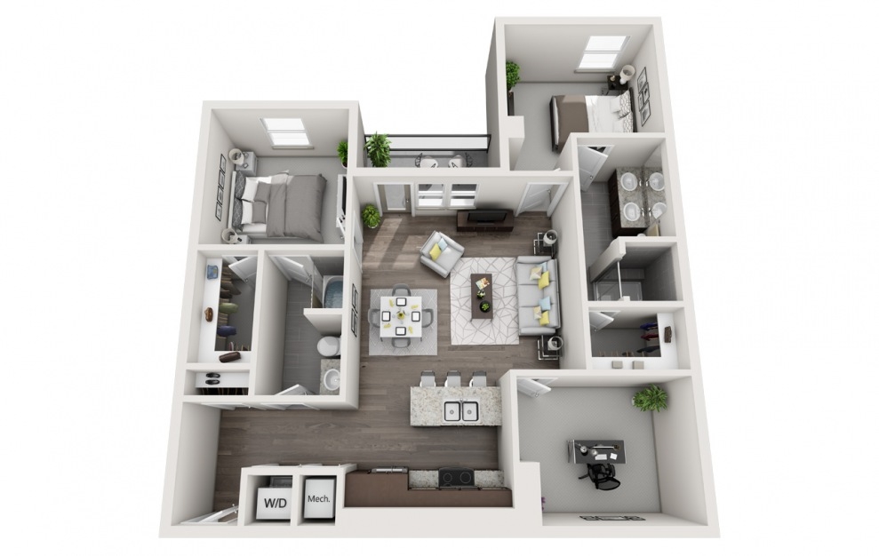 EB2D - 2 bedroom floorplan layout with 2 baths and 1425 square feet. (3D)
