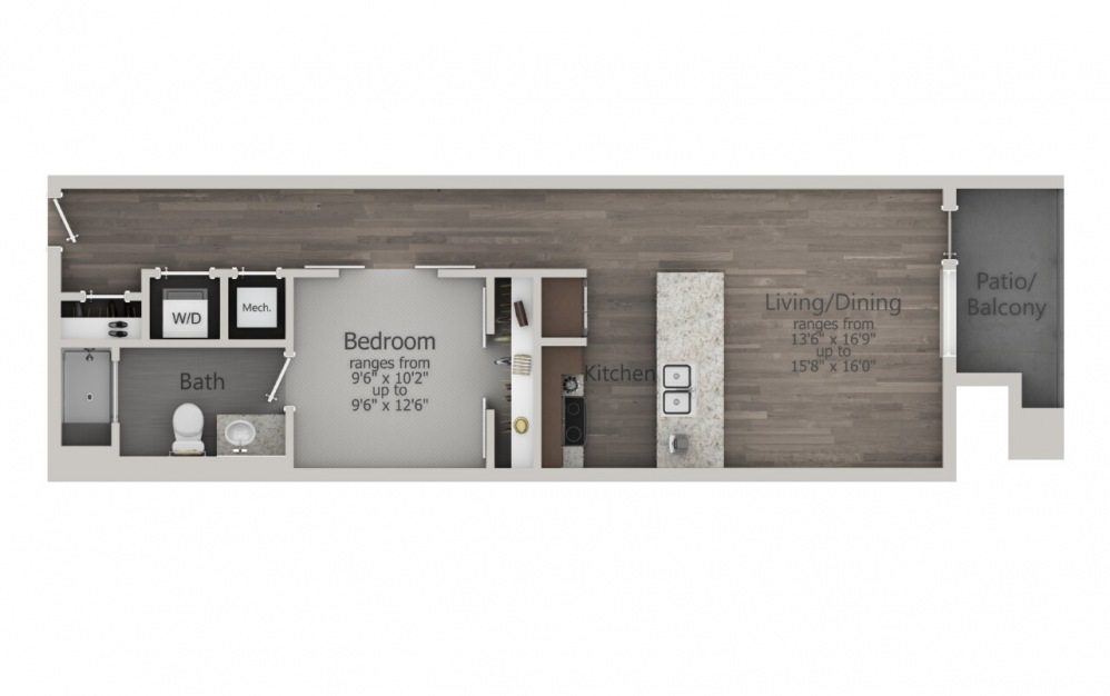 ES1.11 - 1 bedroom floorplan layout with 1 bath and 919 square feet. (2D)