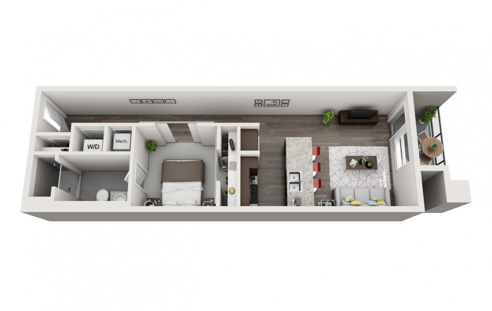 ES1.11 - 1 bedroom floorplan layout with 1 bath and 919 square feet. (3D)