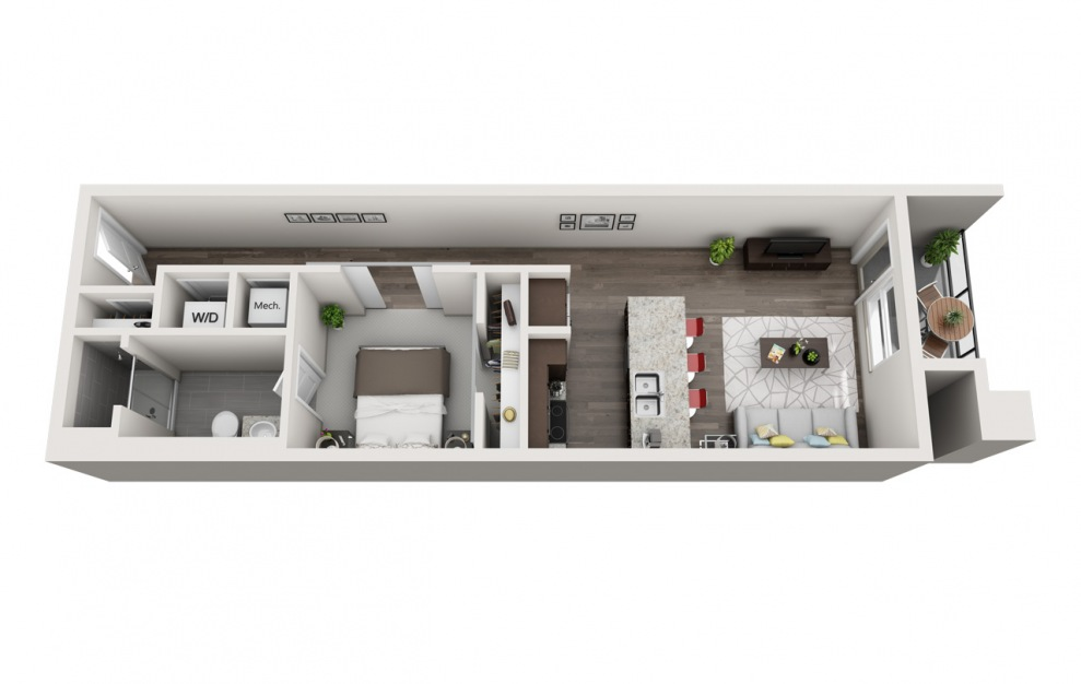 ES1.5 - 1 bedroom floorplan layout with 1 bath and 836 square feet. (3D)