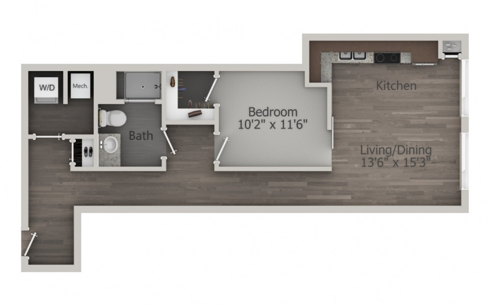 ES1.4 - 1 bedroom floorplan layout with 1 bath and 810 square feet. (2D)