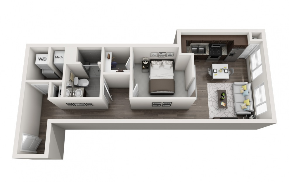 ES1.4 - 1 bedroom floorplan layout with 1 bath and 810 square feet. (3D)