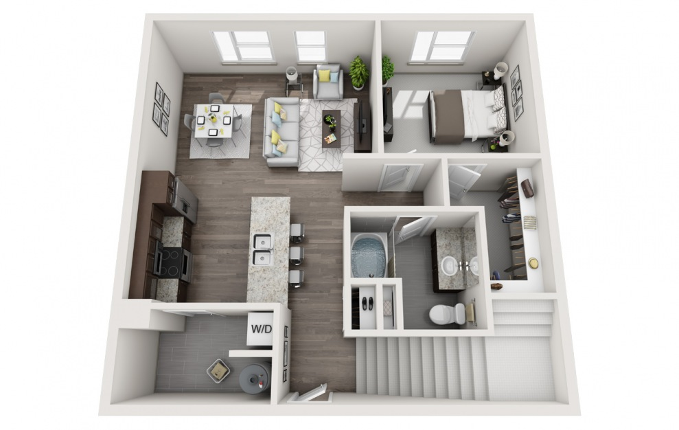 L4 - 2 bedroom floorplan layout with 2 baths and 1190 square feet. (Floor 1 / 3D)