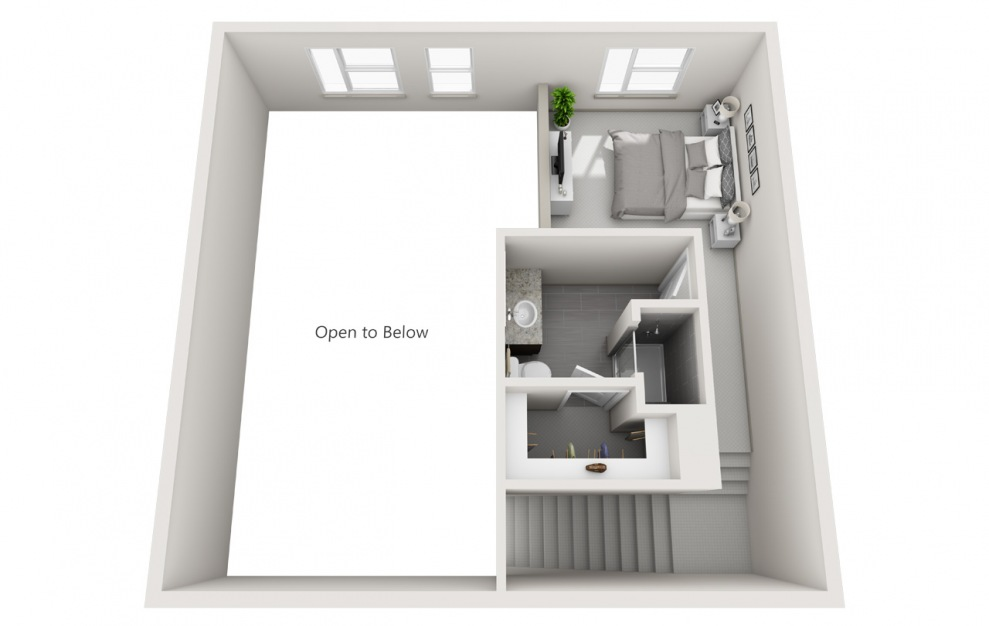 L4 - 2 bedroom floorplan layout with 2 baths and 1190 square feet. (Floor 2 / 3D)