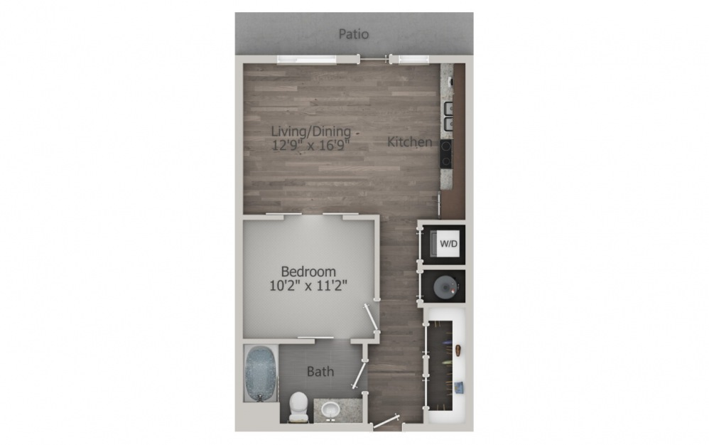 S1 | Studio, 1 Bath, 614 sq. ft. Apartment at Galleries at Park Lane