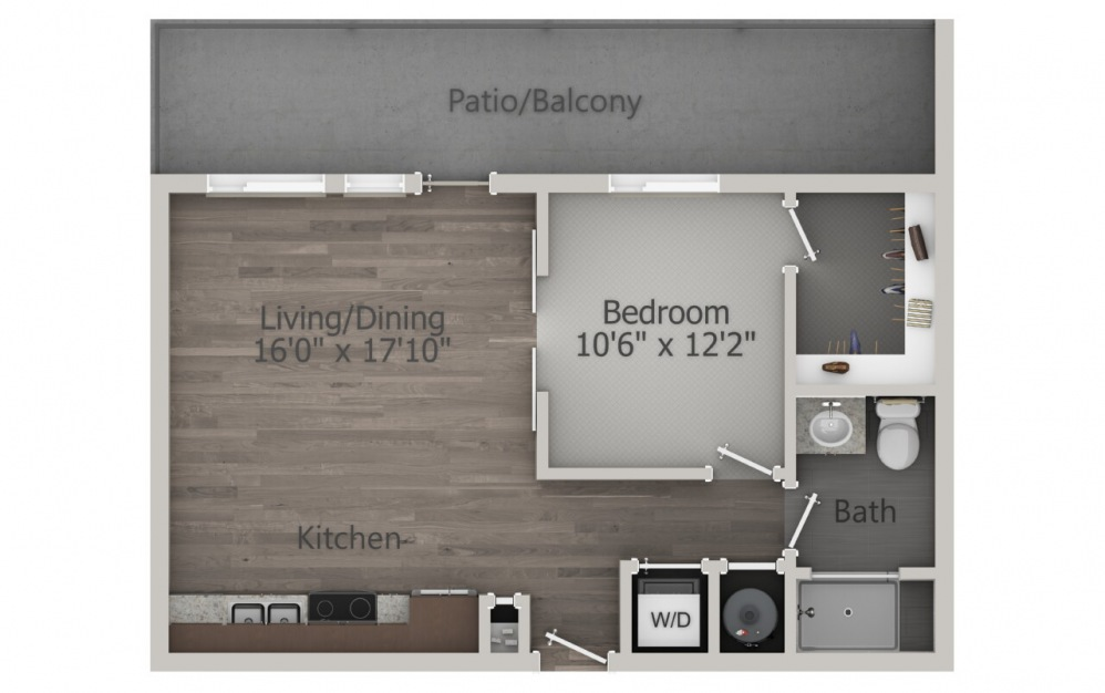 S1.2 - 1 bedroom floorplan layout with 1 bath and 714 square feet. (2D)