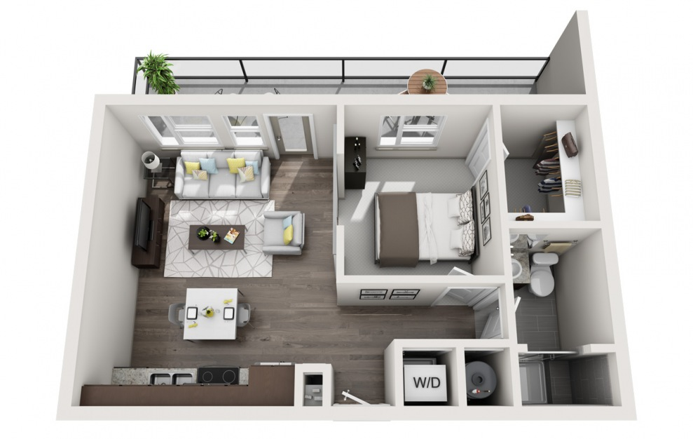 S1.2 - 1 bedroom floorplan layout with 1 bath and 714 square feet. (3D)