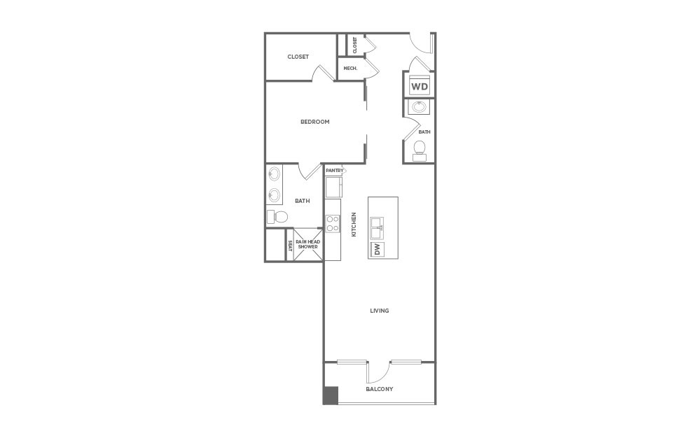 EA1.13 - 1 bedroom floorplan layout with 1.5 bath and 1010 square feet. (2D)