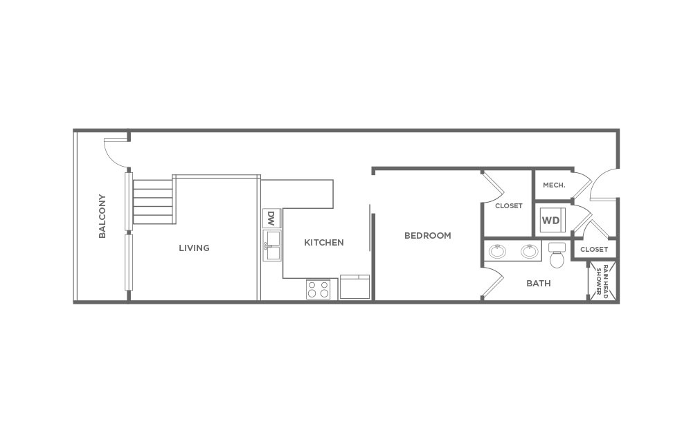 EA1.12 - 1 bedroom floorplan layout with 1 bath and 931 square feet. (2D)