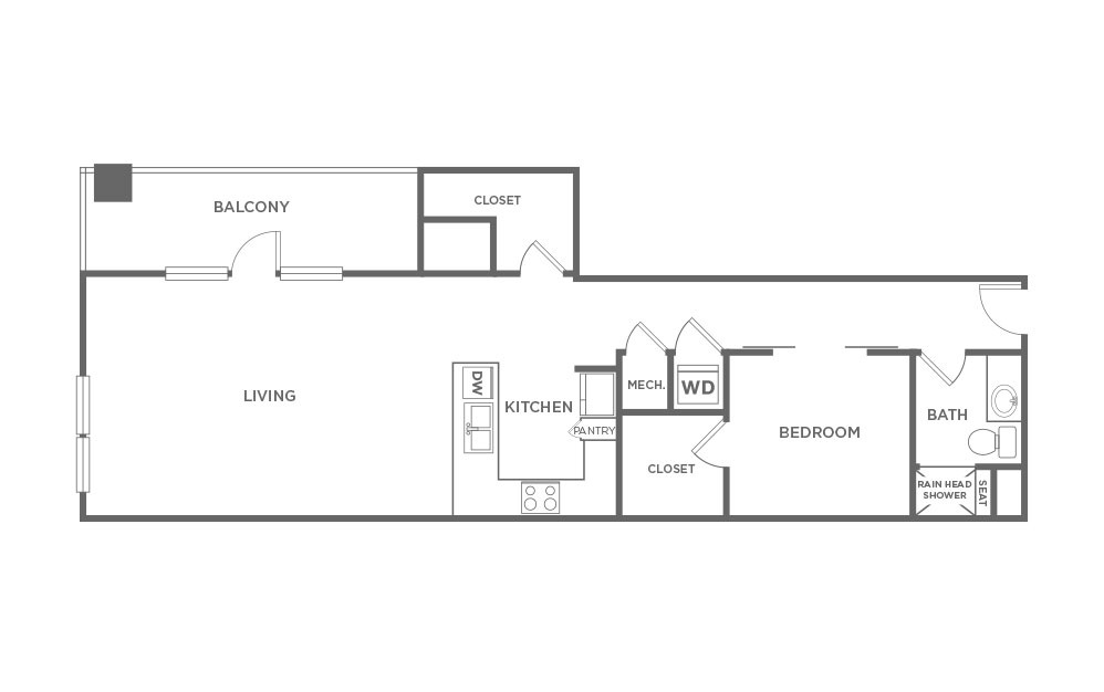 EA1.17 - 1 bedroom floorplan layout with 1 bath and 1111 square feet. (2D)