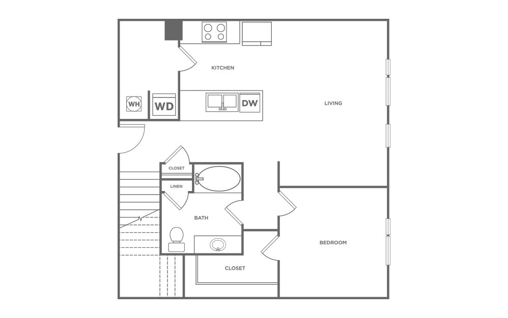 L4 - 2 bedroom floorplan layout with 2 baths and 1190 square feet. (Floor 1 / 2D)