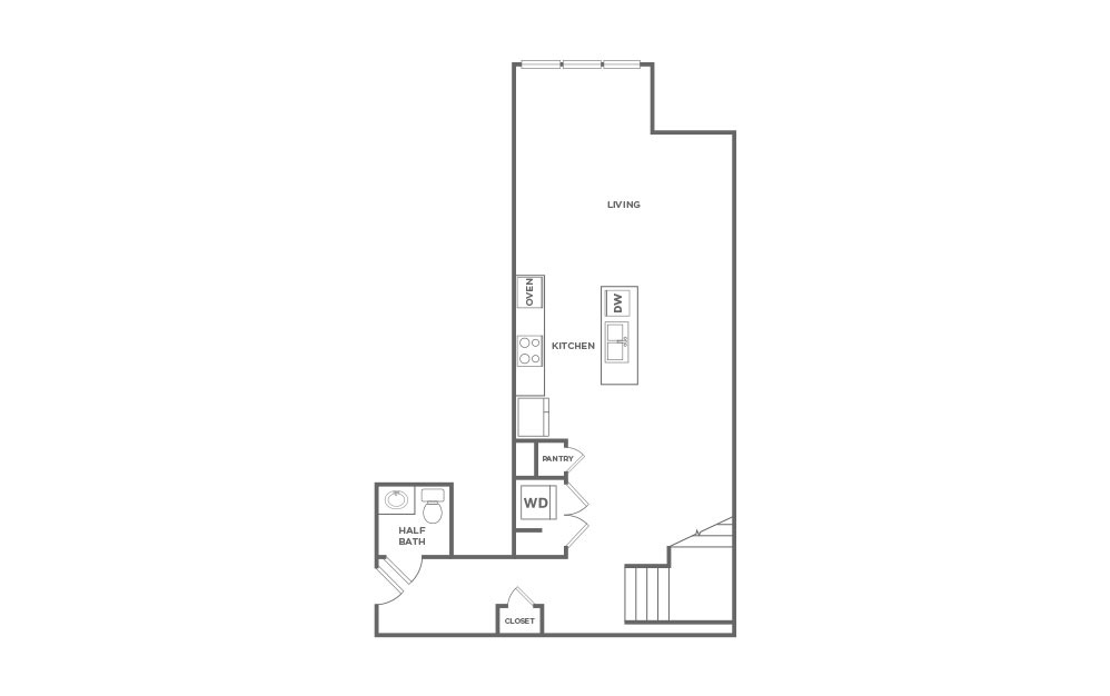 EA1L - 1 bedroom floorplan layout with 1.5 bath and 1427 square feet. (Floor 1 / 2D)