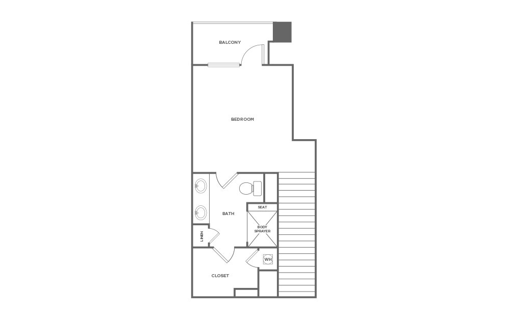 EA1L - 1 bedroom floorplan layout with 1.5 bath and 1427 square feet. (Floor 2 / 2D)