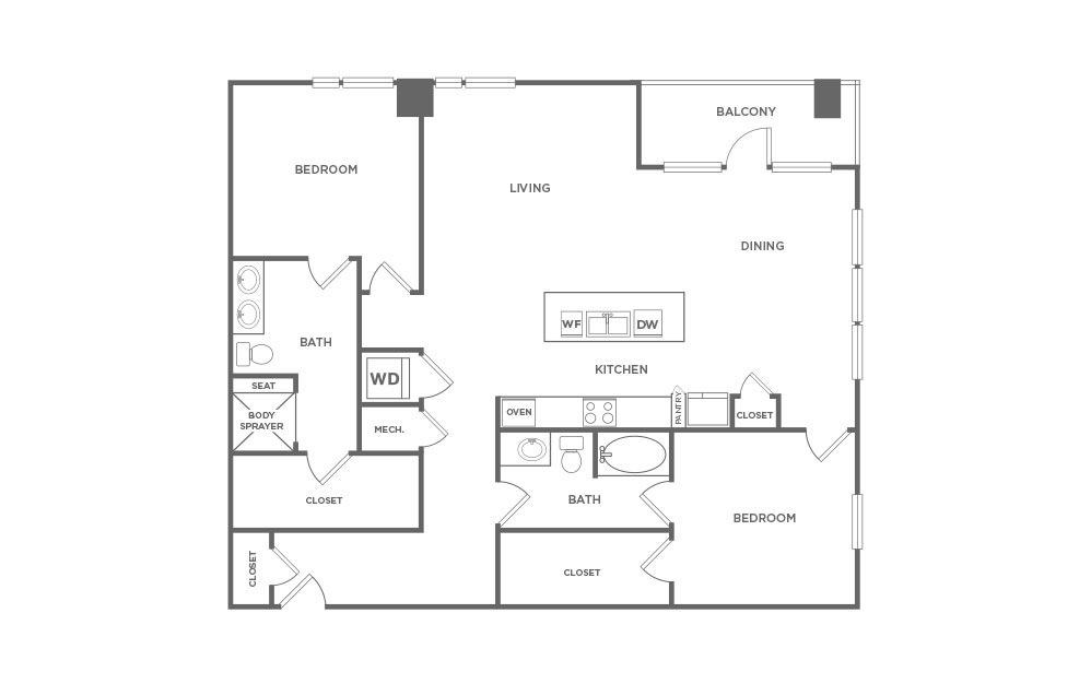 EB2.3 - 2 bedroom floorplan layout with 2 baths and 1560 square feet. (2D)